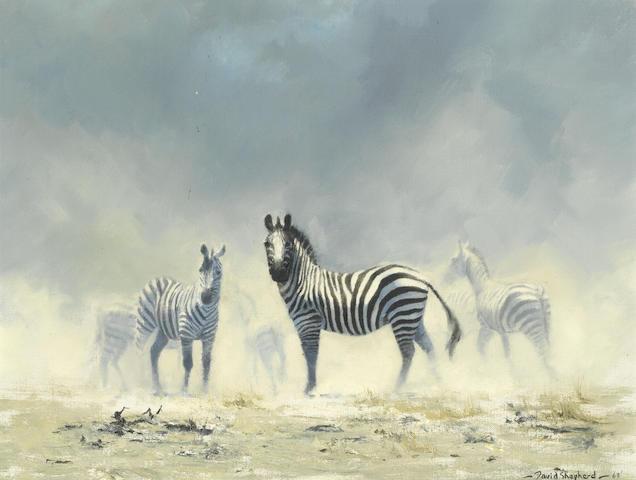 David Shepherd C.B.E. (British, 1931-2017) Zebras
