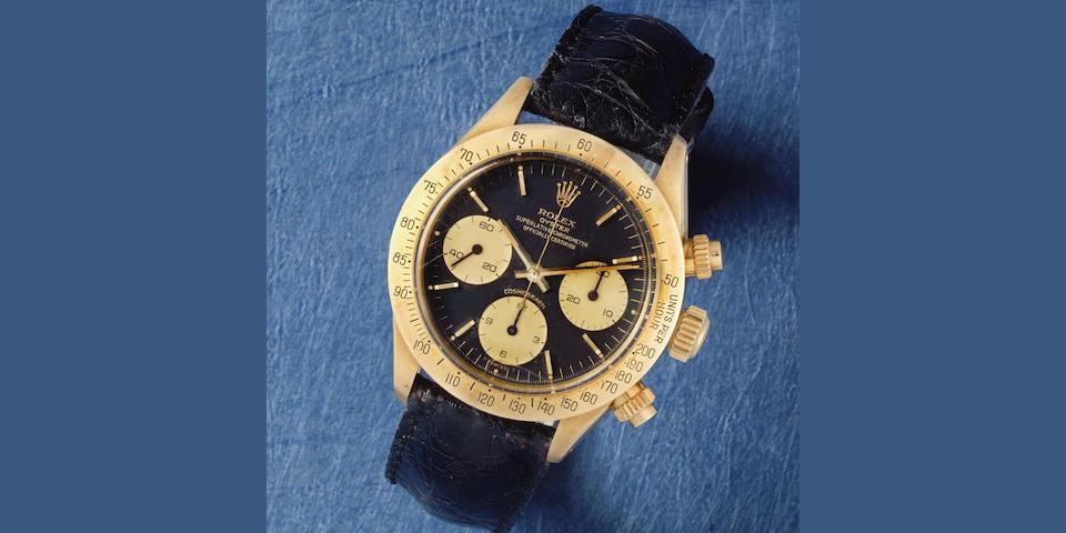 Rolex. A fine 18K gold manual wind chronograph wristwatch  Cosmograph Daytona, Ref: 6265, Circa 1979