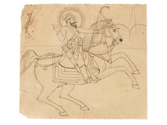 Guru Gobind Singh, the tenth Sikh Guru, on horseback, firing an arrow from his bow North India, mid-19th Century