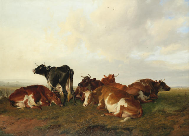 Thomas Sidney Cooper, RA (British, 1803-1902) A group of six cows in Canterbury Meadows