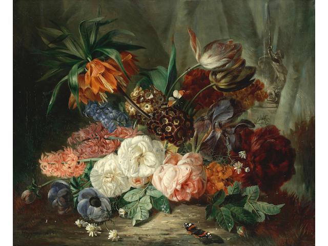 François Joseph Huygens (Belgian, 1820-1908) Still lifes of flowers with butterflies; a pair  each 61 x 73.7cm (24 x 29in).(2)