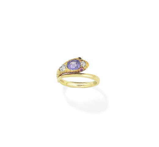 A gem-set serpent ring