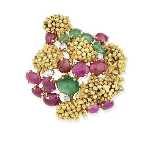 A gem-set brooch, by Andrew Grima, retailed by Schilling, 1963