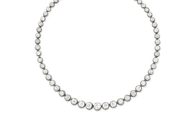 A late 19th century diamond rivière necklace