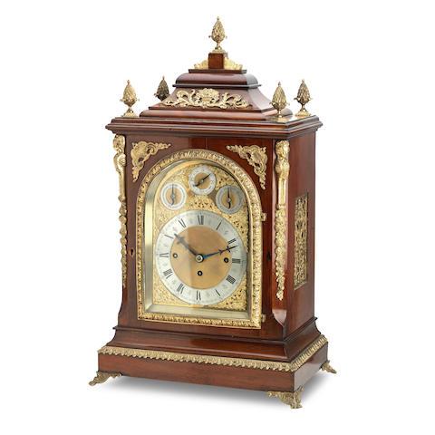 A late 19th century gilt metal mounted mahogany bracket clock