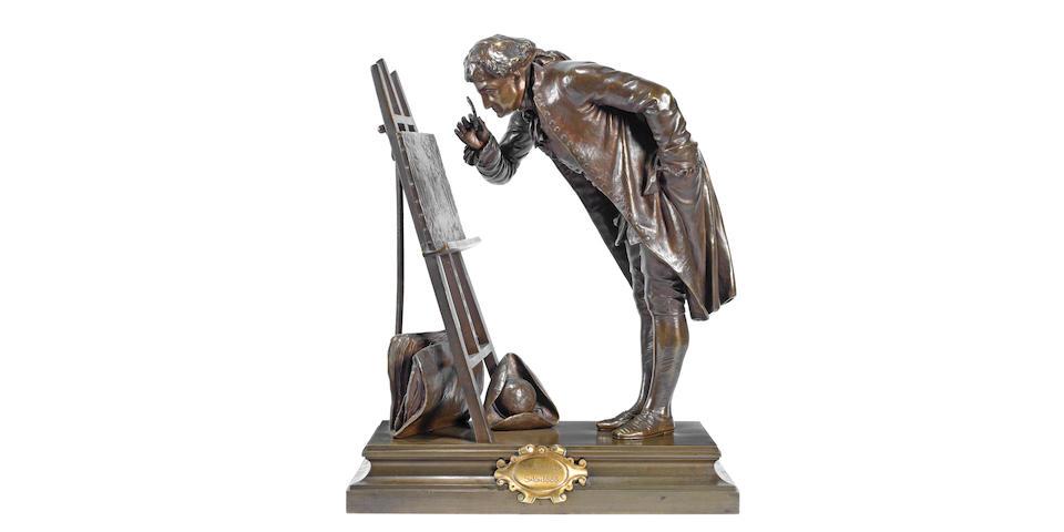 'Un Amateur' a patinated bronze study by Pierre-Louis Detrier signed in cast, circa 1890