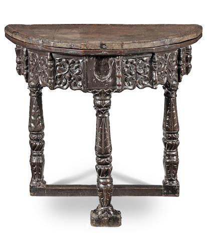 A magnificent joined oak folding-table, circa 1530 - 50