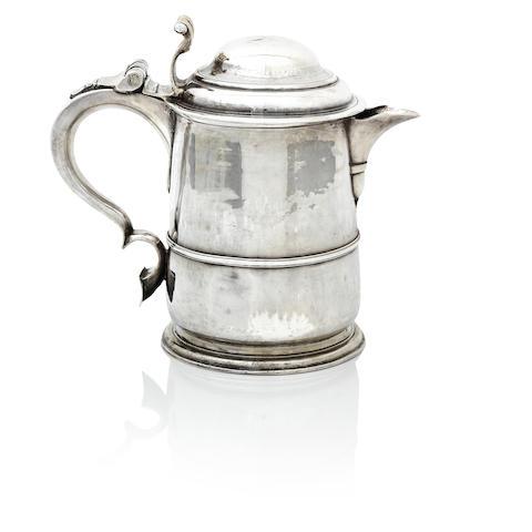 A George II silver lidded tankard by Thomas Tearle, London 1724,