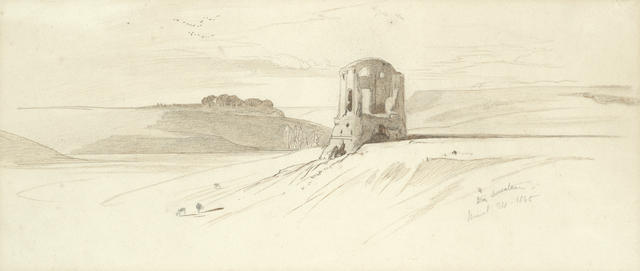 Edward Lear (British, 1812-1888) Landscape with solitary tower