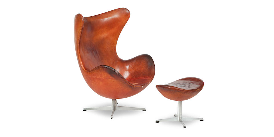 Arne Jacobsen (Danish, 1902-1971) An Egg chair and stool, designed 1958, manufactured by Fritz Hansen