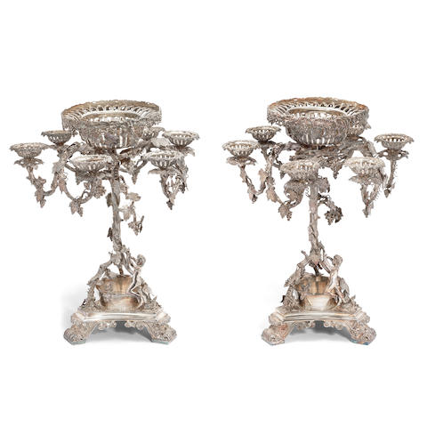 A pair of large silver-plated centrepieces maker's mark a crown, mid-19th century (2)