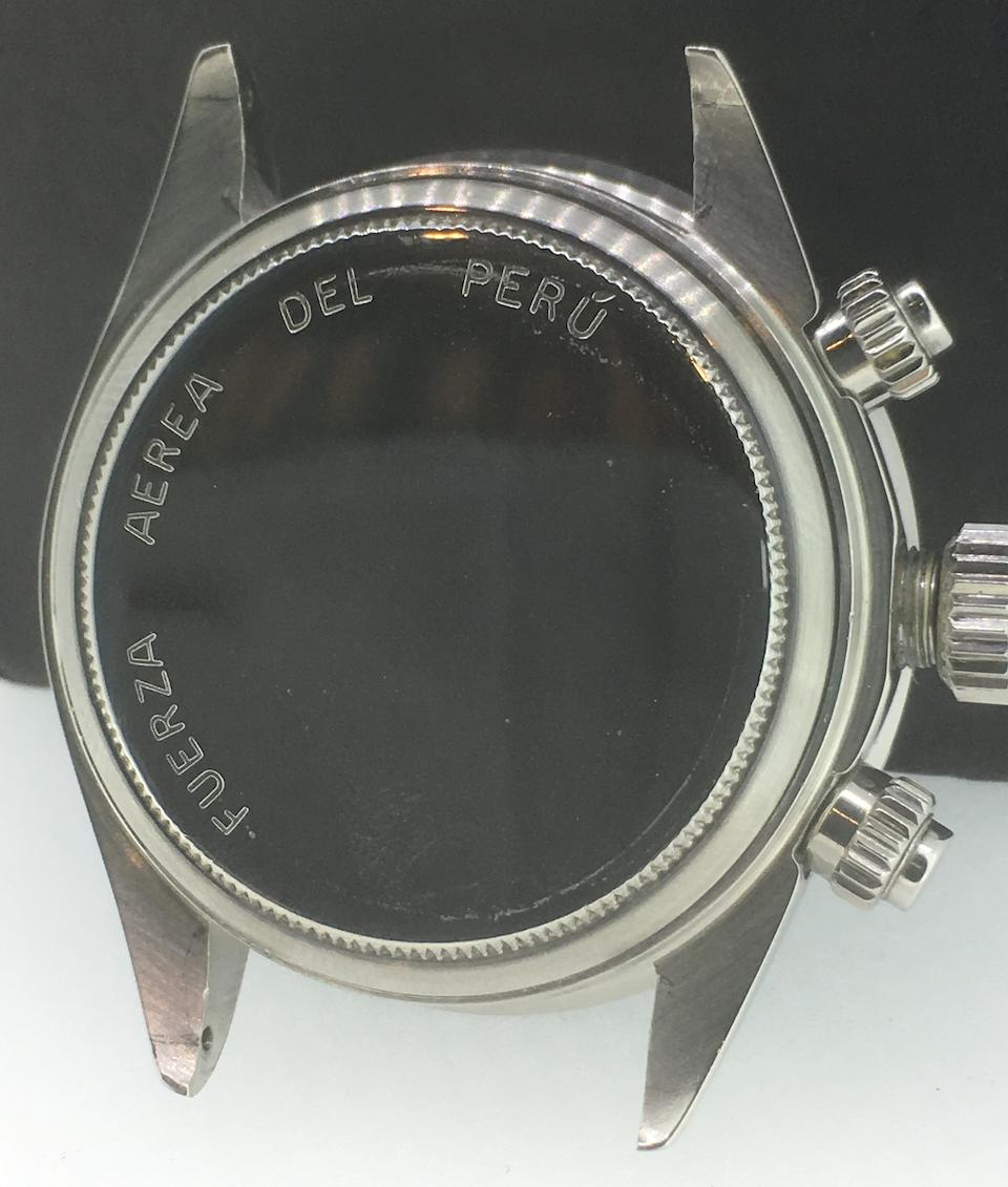 Rolex. A fine and rare stainless steel manual wind chronograph bracelet watch issued to the Peruvian Airforce  Cosmograph, Ref: 6263, Circa 1976