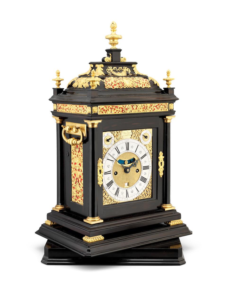 AN IMPRESSIVE EBONY TURNTABLE CLOCK WITH KEYHOLE BACKPLATE Daniel Quare, London, circa 1706