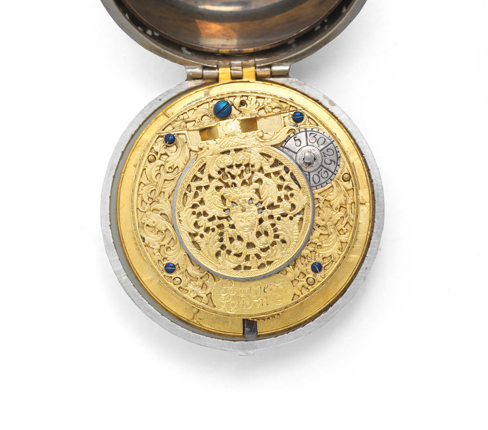 Edward Banger, London. A fine and rare silver pair cased alarm watch, circa 1720
