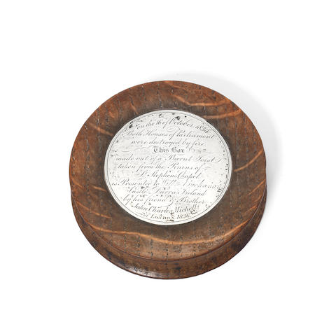 Parliament Interest: a silver and wood commemorative snuff box unmarked, circa 1836