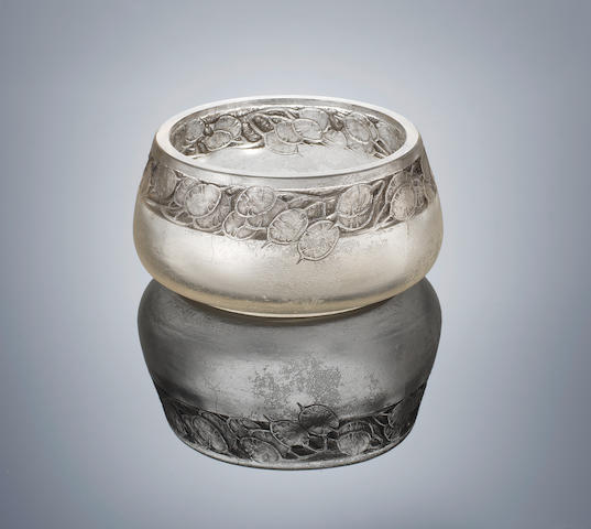 René Lalique (French, 1860-1945) A Unique 'Frise Monnaie Du Pape' Cire Perdue Vase, designed in 1920