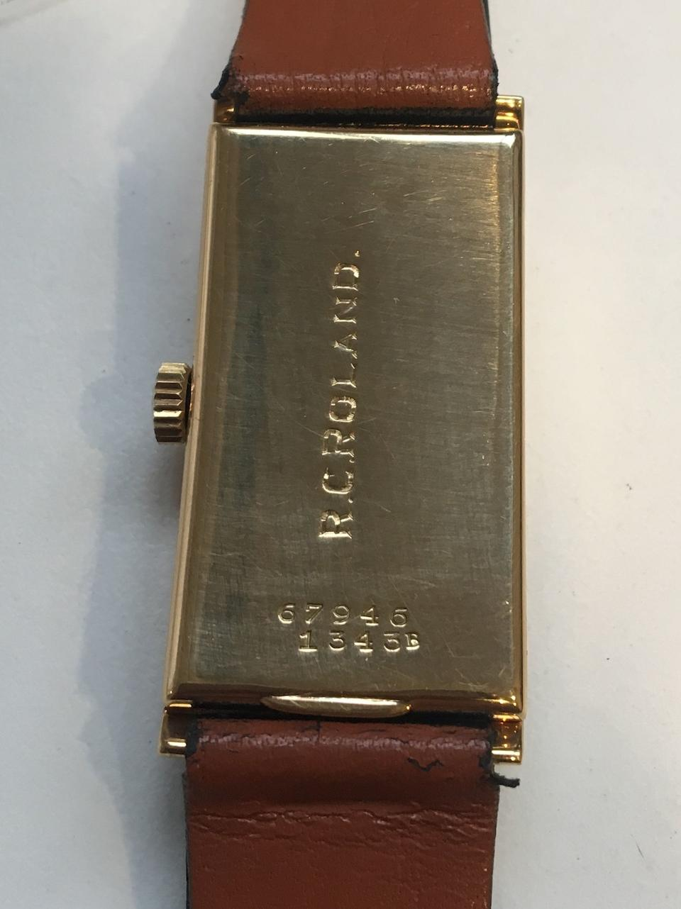 Rolex. A fine 18K striped white and yellow gold manual wind rectangular wristwatch  Prince 'Tiger Stripe', Ref: 1343B, Glasgow Import mark for 1929