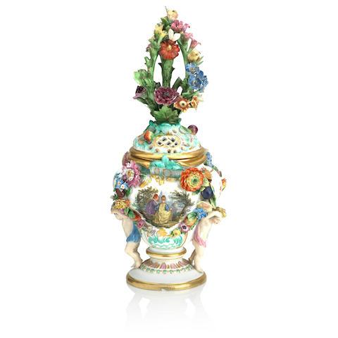 A Meissen pot pourri vase and cover 19th Century