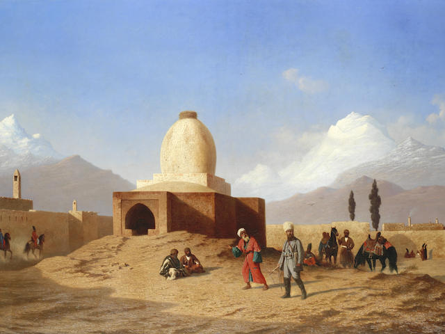 Charles-Théodore Frère (French, 1814-1888) The Tomb of Esther and Mordechai, Hamadan, Iran, with the Alvand range of the Zagros Mountains in the distance