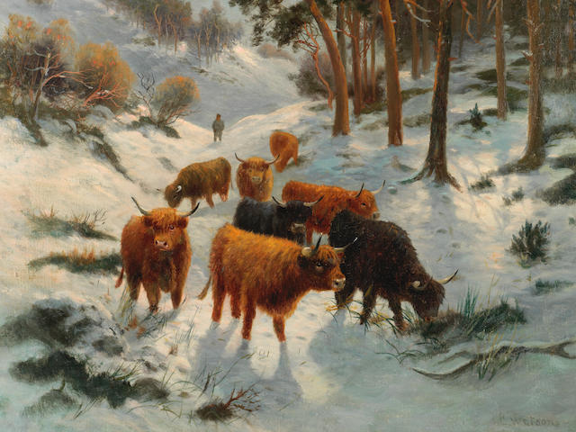 C.E.Watson (British 19th/20th Century) Highland cattle in a winter landscape
