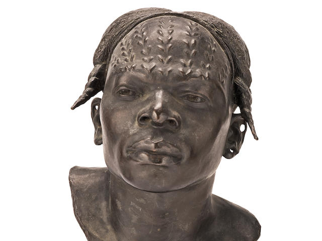 Herbert Ward (British, 1863-1919): A patinated bronze bust of a native African head entitled  'An Aruimi Type' with direct provenance to Herbert and Sarita Ward