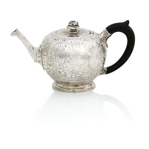 A George II bachelor silver bullet teapot by John Swift, London 1730