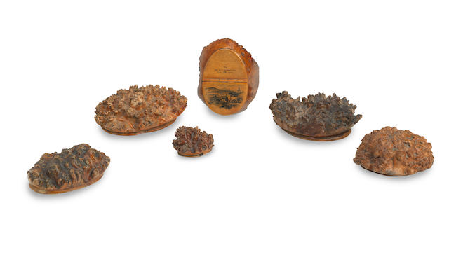A collection of six 19th century Scottish root wood snuff boxes  (6)