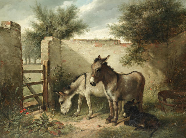 Walter Hunt (British, 1861-1941) A family of donkeys