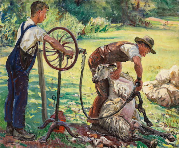 Dame Laura Knight, RA, RWS (British, 1877-1970) Shearing Sheep (To be sold with extensive correspondence between the artist and the family of the present owner, relating to the purchase of the work. )
