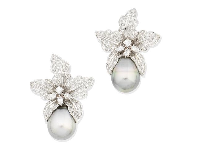 A pair of cultured pearl and diamond floral earrings