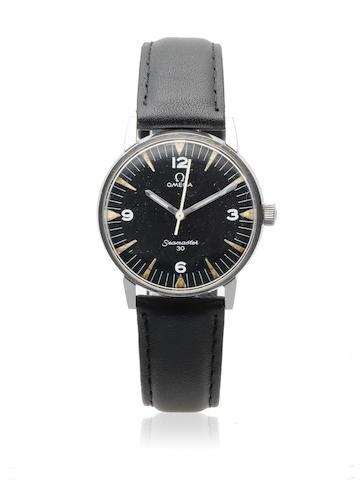Omega. A military stainless steel manual wind centre seconds wristwatch issued to the Pakistani Air Force  Seamaster 30, Ref: 136.011, Circa 1968