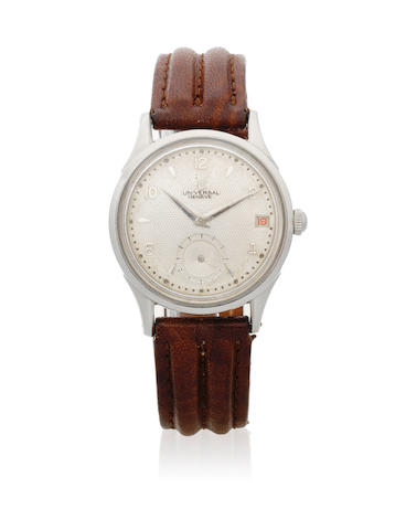 Universal Genève. A stainless steel bumper automatic calendar wristwatch with roulette date wheel  Polerouter, Circa 1955