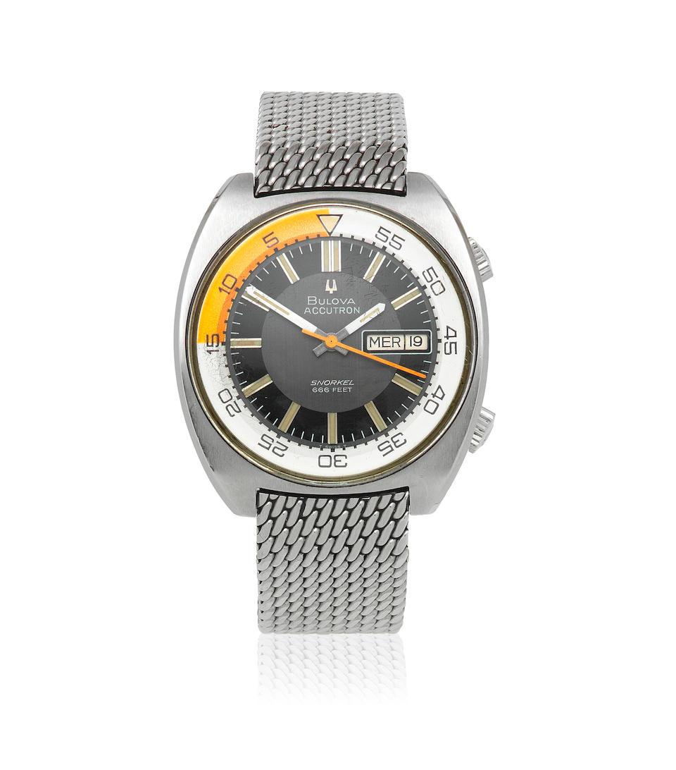 Bulova. A stainless steel electronic calendar divers bracelet watch  Snorkel 666 Feet, Circa 1970