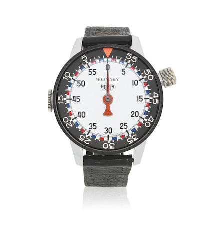 Heuer. A stainless steel manual wind oversized stop wristwatch  Military, Ref: 11309, Circa 1970