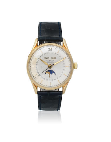 Gübelin. A 14K gold and stainless steel automatic triple calendar wristwatch with moon phase  Ipsomatic, Circa 1950