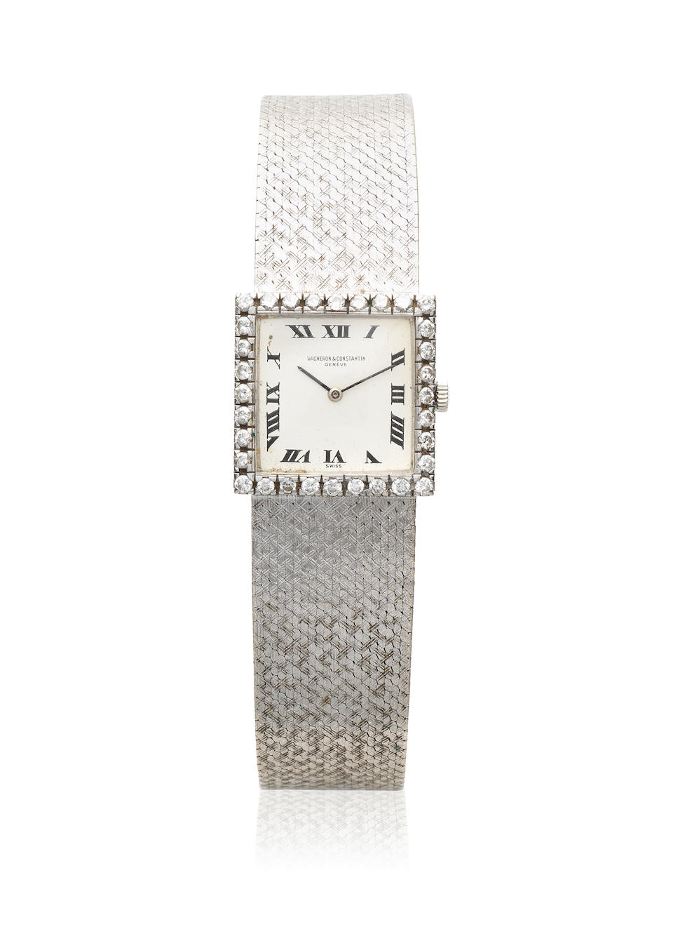 Vacheron & Constantin. A lady's 18K white gold and diamond set manual wind square bracelet watch Ref: 7147, Circa 1975