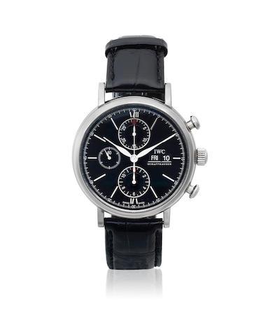 IWC. A stainless steel automatic calendar chronograph wristwatch  Portofino, Ref: 3910, Circa 2000