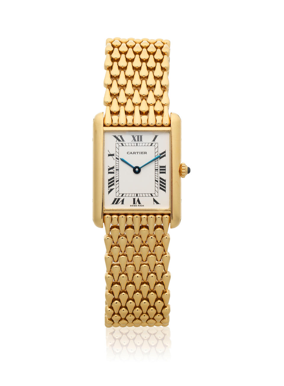 Cartier. An 18K gold quartz rectangular bracelet watch  Tank, Ref: 1140 2, Circa 1990