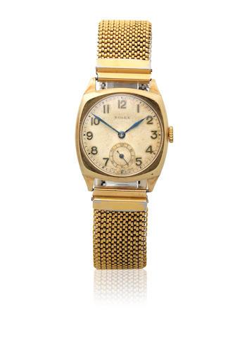 Rolex. A 9K gold manual wind cushion form bracelet watch Ref: 2988, Glasgow Import mark for 1936