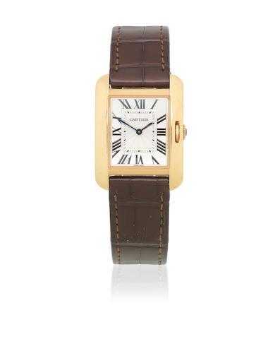 Cartier. An 18K rose gold quartz rectangular wristwatch  Tank Anglaise, Ref: 3705, Sold 15th April 2017