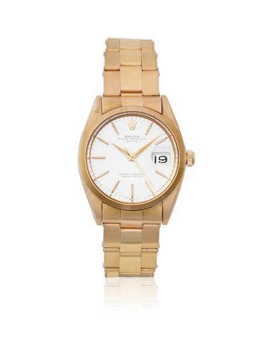 Rolex. An 18K rose gold automatic calendar bracelet watch    Date, Ref: 1500, Sold 3rd October 1966