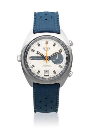Heuer. A stainless steel automatic calendar wristwatch  Carrera, Ref: 1553, Circa 1972