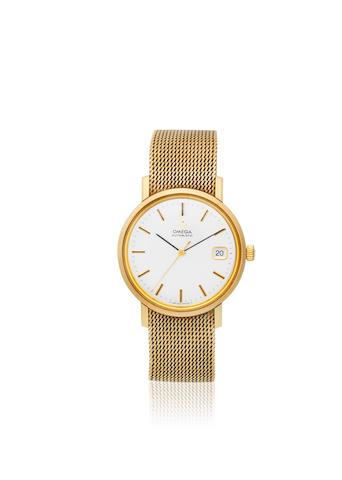 Omega. A 9K gold automatic calendar bracelet watch Ref: BL3665461, Sold 5th October 1978