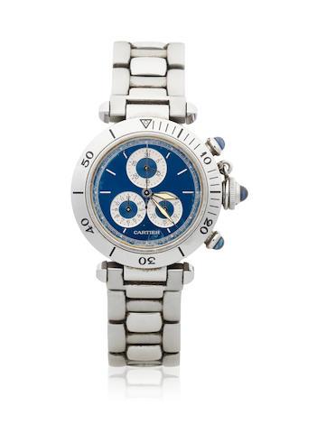 Cartier. A stainless steel quartz calendar chronograph bracelet watch  Pasha, Ref: 1352/1, Circa 1990