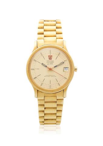 Omega. An 18K gold electronic calendar bracelet watch  Electronic F300, Ref: 198.003, Circa 1980