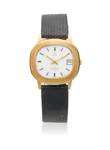 Ebel. An 18K gold automatic calendar cushion form wristwatch  Brasilia, Circa 1960