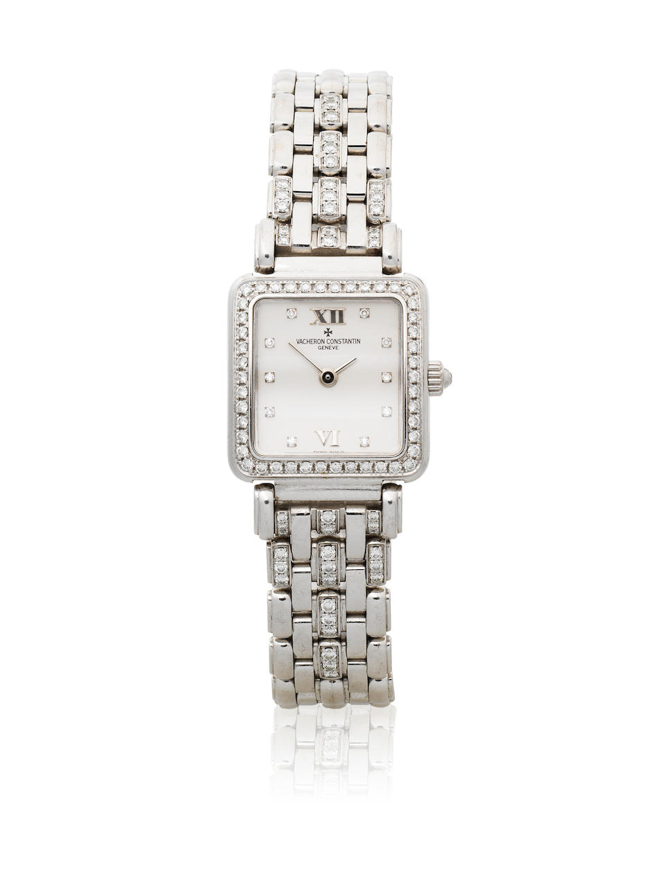 Vacheron & Constantin. A lady's 18K white gold and diamond set manual wind bracelet watch Ref: 10531/326G, Sold 31st December 1998