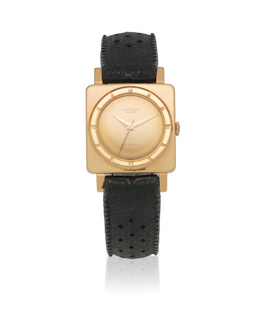 Universal Genève. An 18K rose gold automatic square wristwatch Ref: 10359 1, Circa 1960