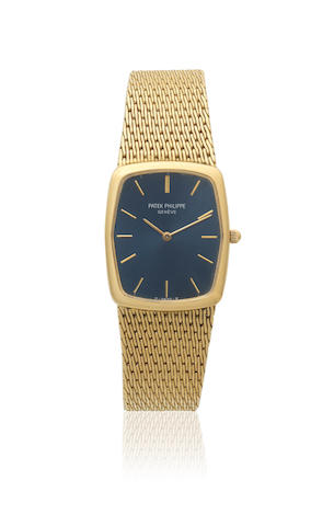 Patek Philippe. A mid-size 18K gold quartz rectangular bracelet watch Ref: 3856/1, Circa 1980