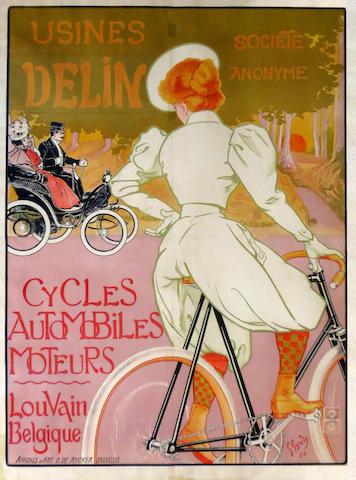 RARE AFFICHE USINES DELIN « CYCLES, AUTOMOBILES, MOTEURS », BELGE, 1898,
